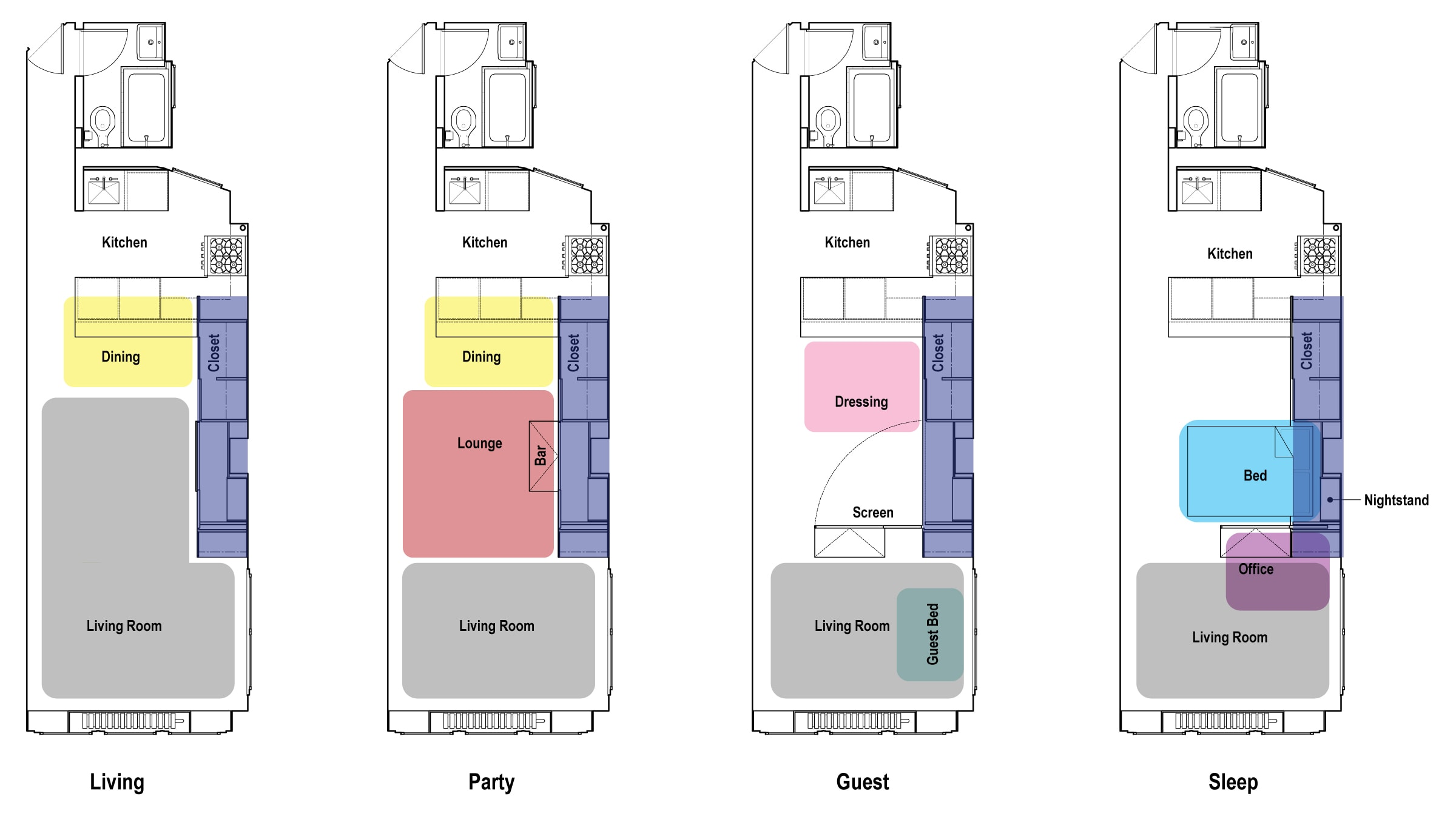 Designing small simple apartments for Small studio design plans