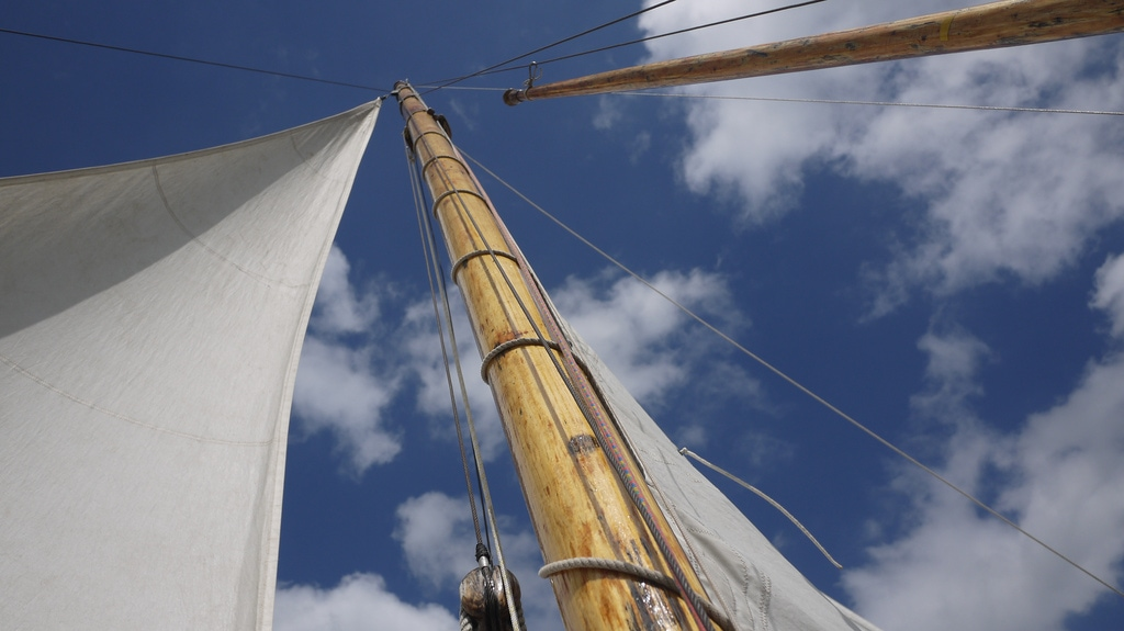 Boat Mast, Sails and Sky