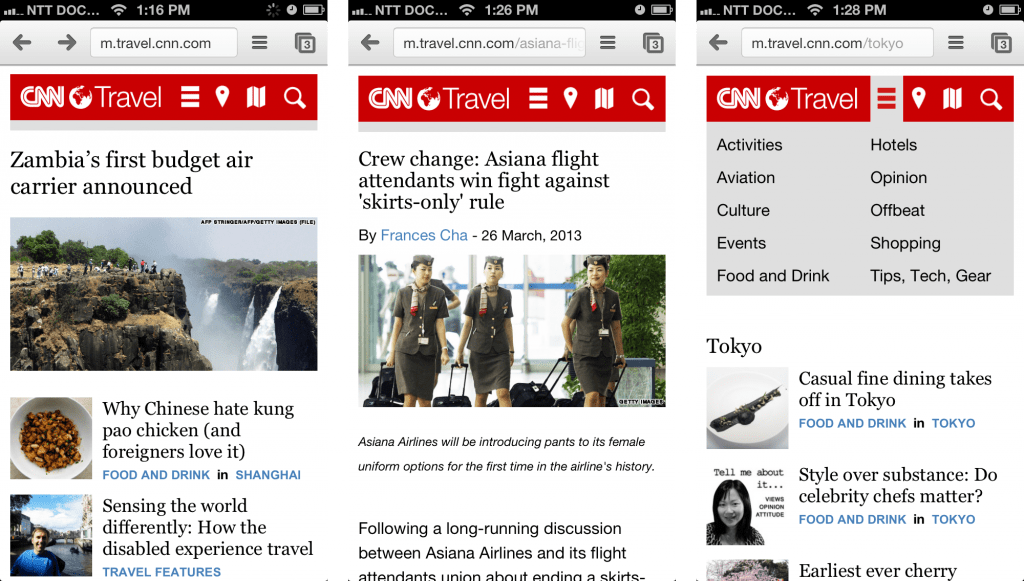 CNN Travel Mobile Website