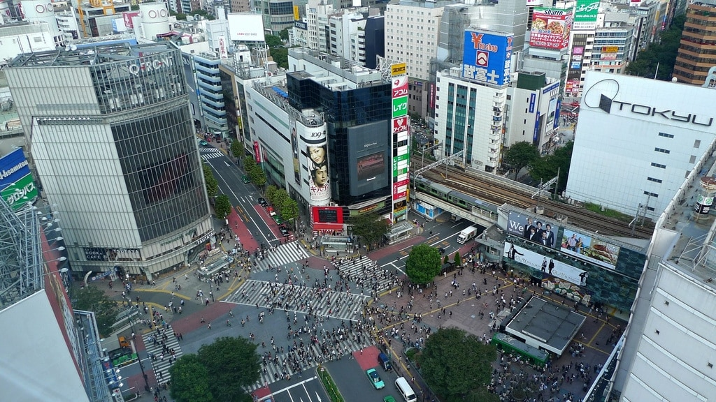 Looking Down on Shibuya Scramble Crossing