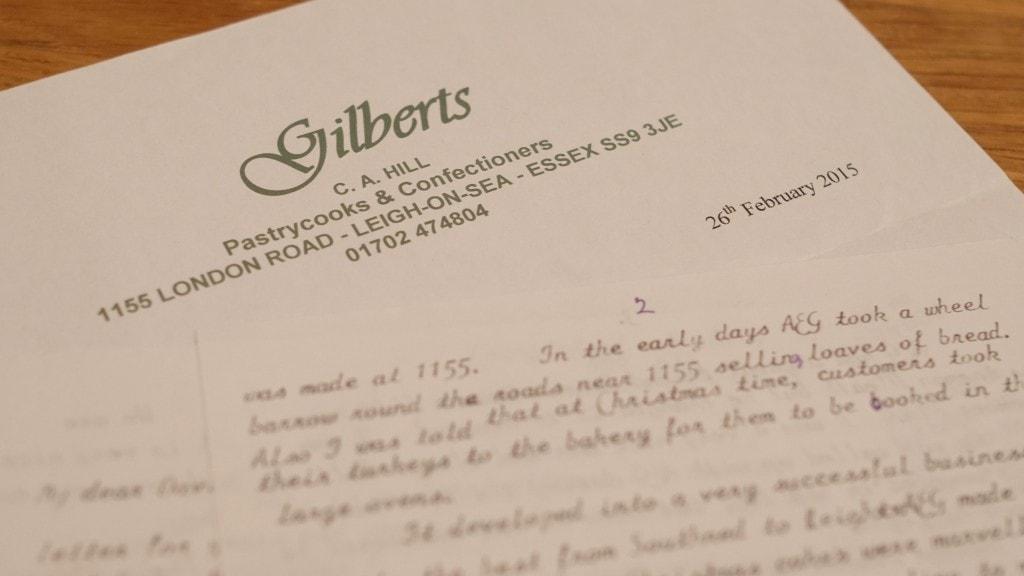 Gilberts Bakery Letter