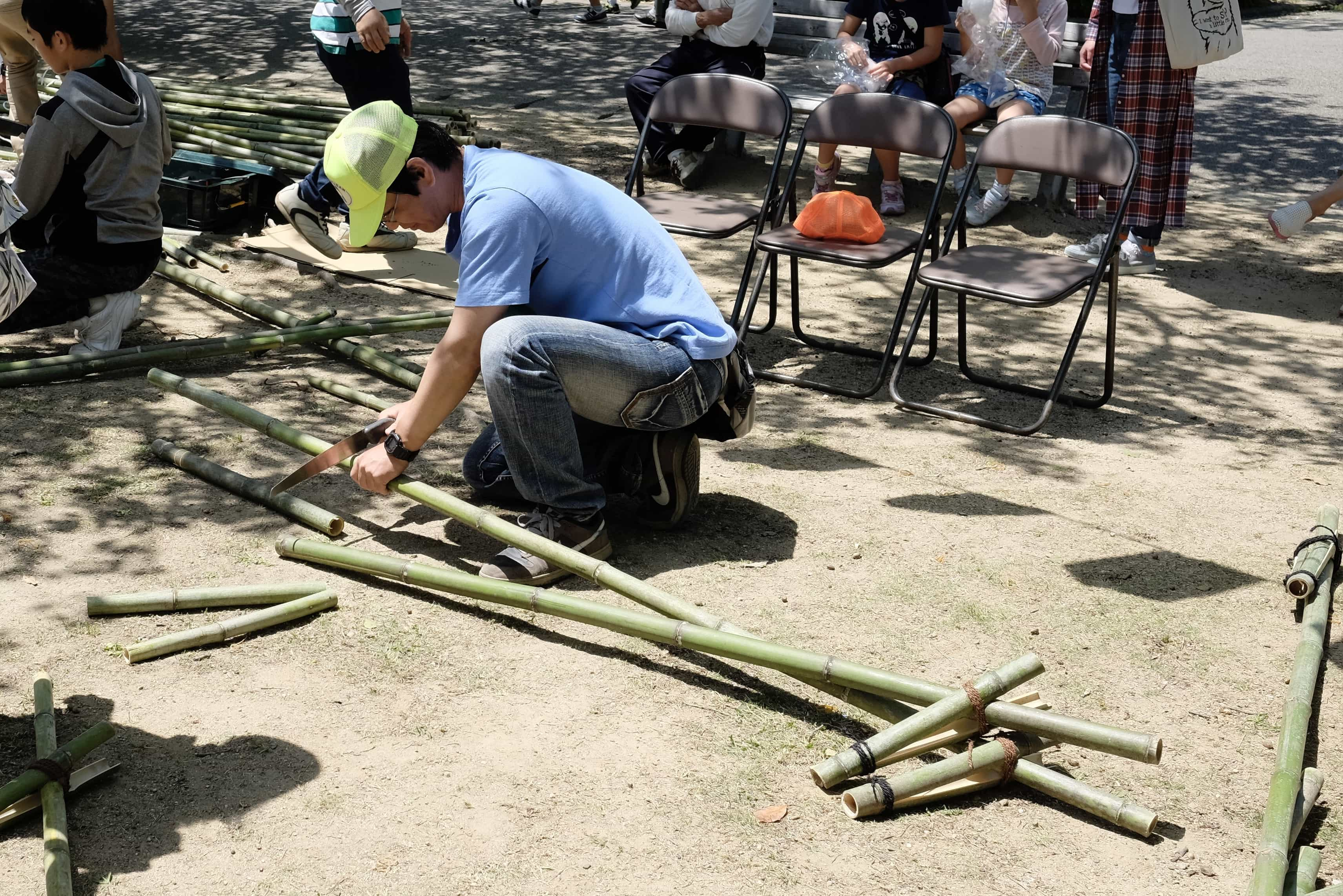 Making bamboo stilts