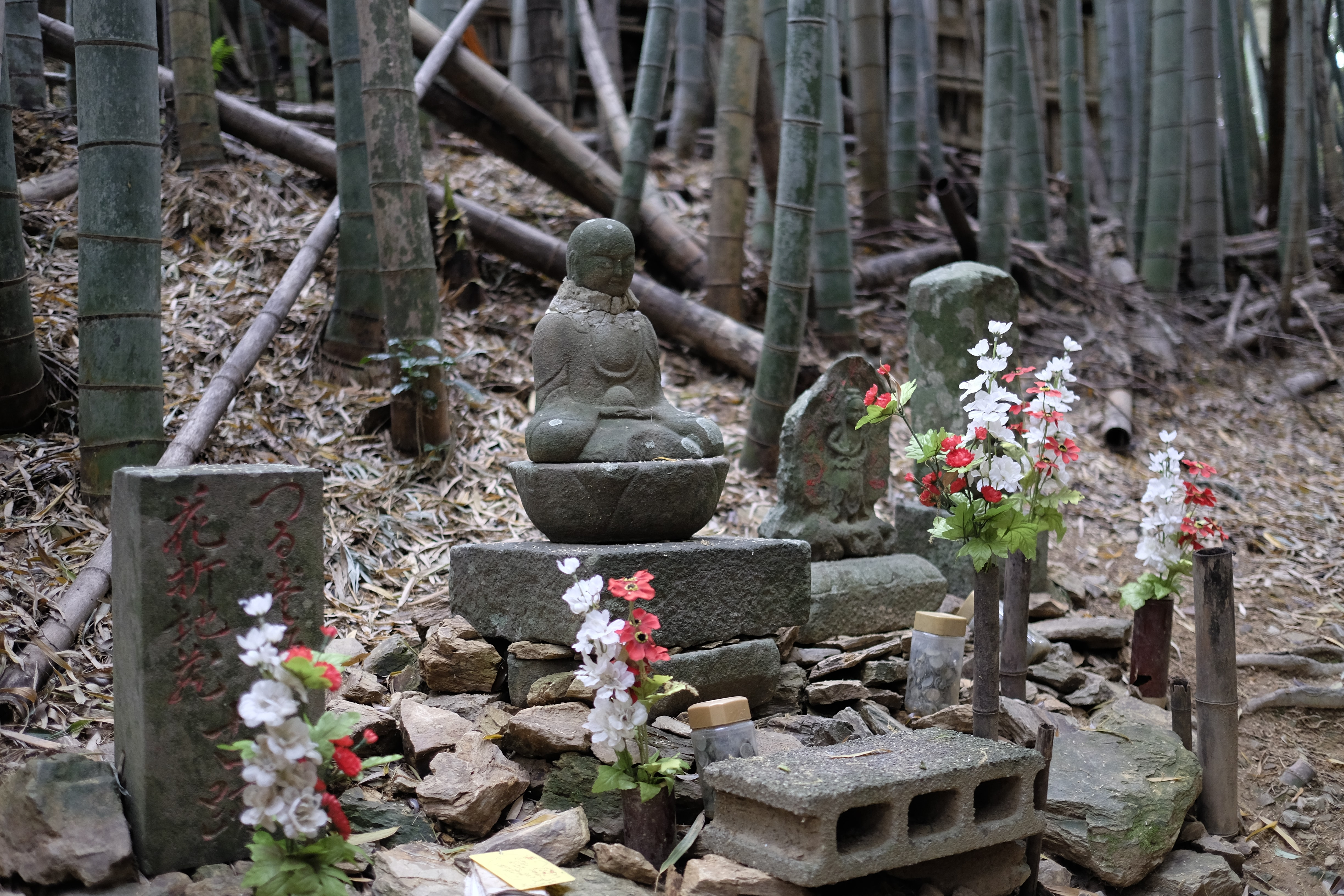 Statues in bamboo groove