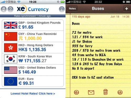 XE Currency & Notes iPhone Apps