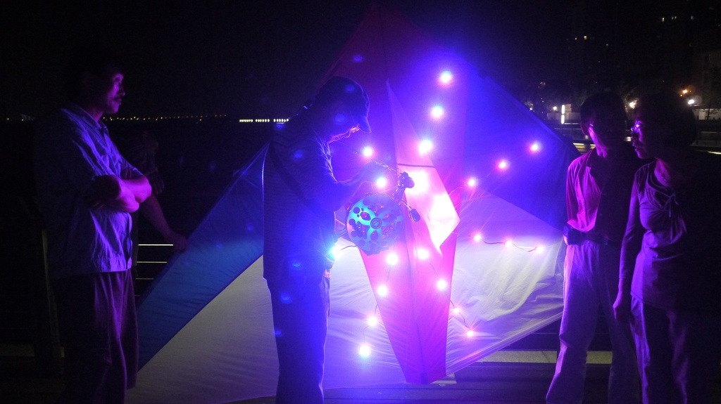 Flying LED Kite at Night in Shanghai