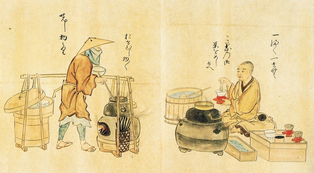 Muromachi period illustration of a an open tea house serving matcha