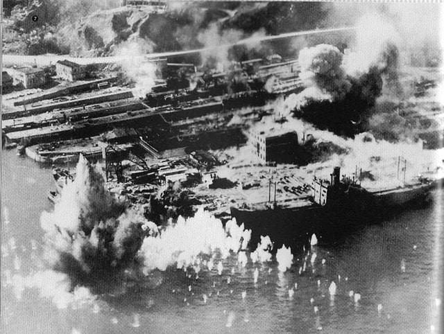 Taikoo Dockyard under US air raid during WWII