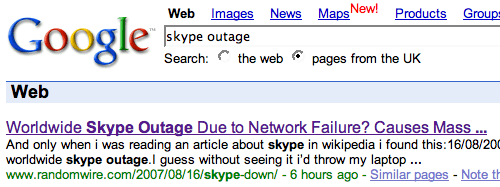 Top Hit in Google for 'Skype Outage'